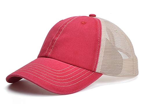 Home Prefer Men's Snapback Baseball Cap Vintage Mesh Trucker Hat Outdoor Sports Running Cap Sun Hat Red