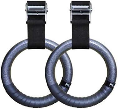 Aishanghuayi フィットネスリング、リングフィットネスホーム体操リング子供子供インドアアダルトプルアップスポーツ用品 スチールリングAペアレッドハンドゲルのスポーツフィットネス指輪安全ロープ ,快適なグリップ