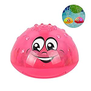 Spray Water Baby Bath Toy,Hamkaw Sprinkler Ball Toy,Water Splash Ball Toy with Light for Kids,Baby Bathtime Fun, Ideal Bath Toy Summer Pool Toy
