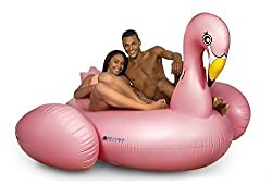 Inflatables Giant Pink Flamingo Pool Float + 3 Flamingo Beverage Holders
