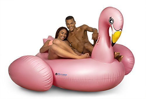 Inflatables Giant Pink Flamingo Pool Float + 3 Flamingo Beverage Holders]()
