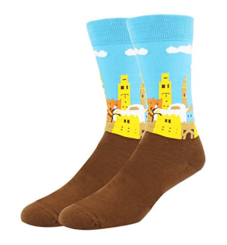 Men's Novelty Art Patterned Morocco Printed Crew Socks Funny Cool Crazy Cotton Dress - Suit Trousers City
