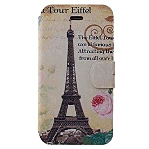Eiffel Tower Pattern PU Full Body Case with Card Slot for iPhone 4/4S