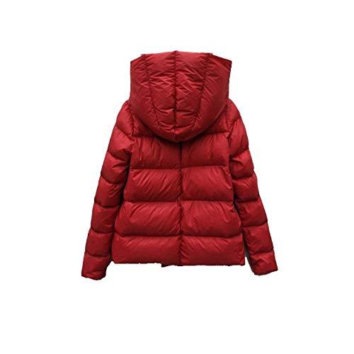 E Red Autunno Con Piumino Niumt Cappuccio Da Donna inverno Corto TYxzCq