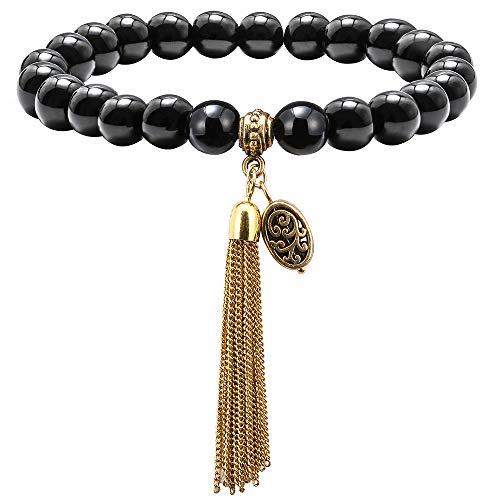 M MOOHAM Stone Bead Bracelet for Women - 8mm Natural Black Agate Stone Stone Beads Bracelet, Men Women Stress Relief Yoga Beads Elastic Semi-Precious StoneTassel Bracelet Bangle (Chic Bead Jewelry)