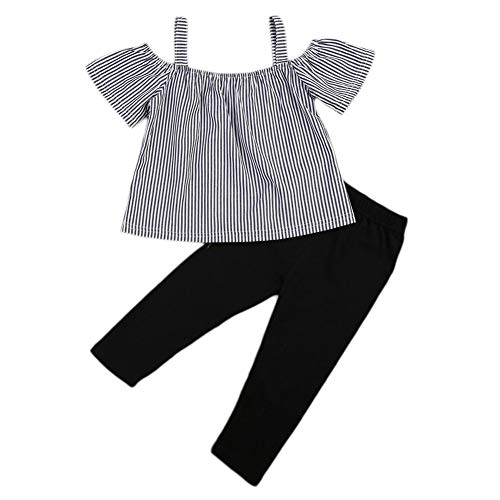 Itkidboy Little Girl Clothes Kids Toddler Off Shoulder T-Shirt Tops+Long Pants Outfit 2PCS Clothes Set 3-4 Years/100