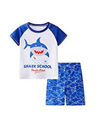 datework Toddler Kids Baby Boys Girls Pajamas Cartoon Tops T-Shirt Shorts Outfits Set