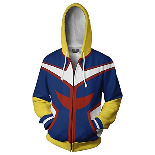 VOSTE My Hero Academia Hoodie 3D Printed Jacket All Might Cosplay Costume (Large, Color 2)