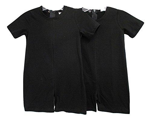 Benefit Wear Kids Back Zipper One-Piece Onesies-Like Underwear (XS (3-5), 2 Pack Black) ()