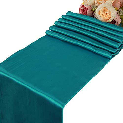 (Teal Satin Table Runners - 10 pcs Wedding Banquet Party Event Decoration Table Runners (Teal, 10))