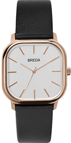 BREDA Men's 'Visser' 1728e Rose Gold Square Fashion Analog Display Quartz with Black Leather Strap Wrist Watch, 35mm (18k Watch Wrist Rose)