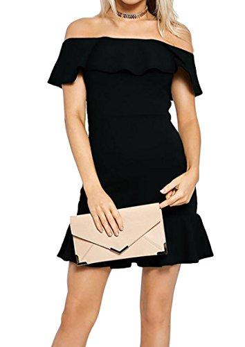 Fit Party Women's Shoulder Bodycon Color Slim Evening Domple Ruffle Black Off Dress Solid wxgSfqZ