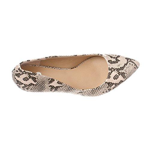 Riverberry  Women's Katy Pointed Closed Toe Kitten Low Heel Pumps, Beige Python, 9