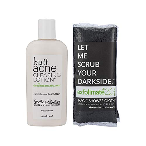(Brilliant Booty Kit | Butt Acne Clearing Lotion and ExfoliMATE Magic Body Exfoliating Cloth for Soft & Young Skin (Black))