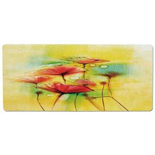 Modern Printed Poppies (Mouse Pad Unique Custom Printed Mousepad [ Watercolor Flower Home Decor,Poppy Flowers Motif in Tones Spring Inspired Modern Picture,Yellow Red ] Stitched Edge Non Slip Rubber)