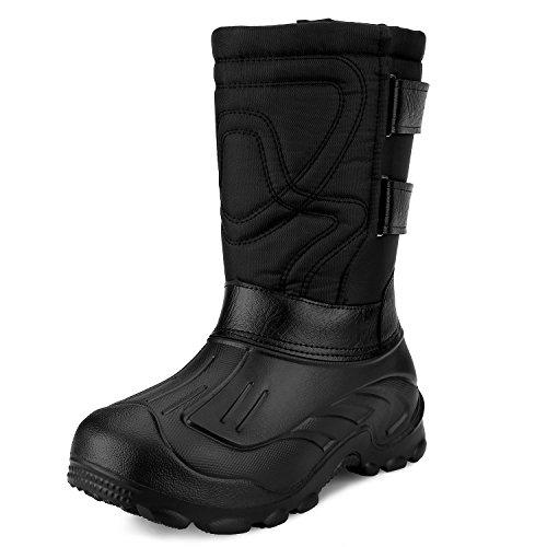 Sibba Gummistiefel ,Thermostiefel mit Oxfordgewebe und abziehbares Innenfutter für Herren , als wasserdichte Schneestiefel und Outdoor Schuhe (43, schwarz)