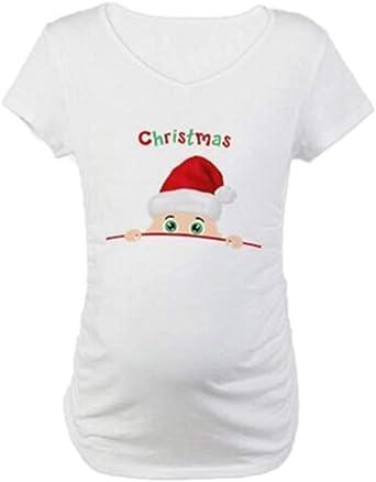 worclub Camisa de la Navidad de Las Mujeres Embarazadas, Camiseta Divertida Linda de Maternidad del Aviso del Embarazo de la Navidad: Amazon.es: Ropa y accesorios