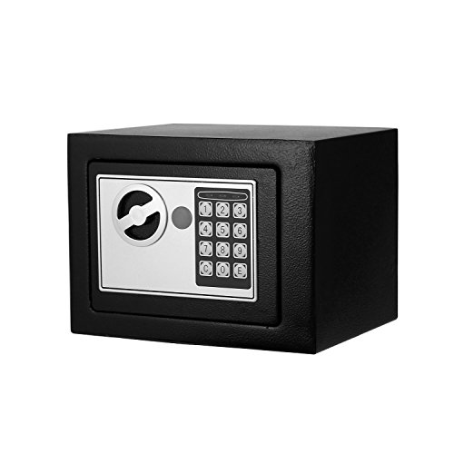 Digital Electronic Safe Security Box Fireproof Wall-Anchoring Safe Deposit Box for Money Jewelry Cash Batteries - US Stock (Black) by Flyerstoy