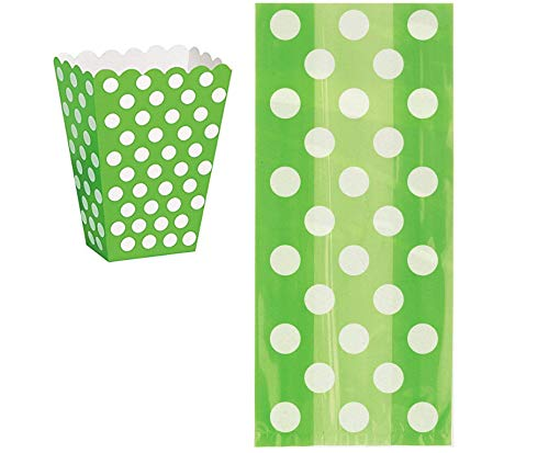 Lime Green Box Set - UNIQUE Lime Green Polka Dot Set of 8 Popcorn Treat Boxes and Set of 20 Cellophane Bags