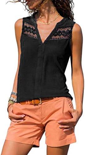 Oksea Spitze Ärmellos V-Ausschnitt Damen T Shirt Leicht Sexy V Ausschnitt Kurzarm Shirt mit Spitze Kragen Loose...