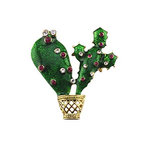 TENDYCOCO Delicados broches de cactus Ramillete Collar Ropa Bolsas Broche Etiqueta Pasadores (verde)