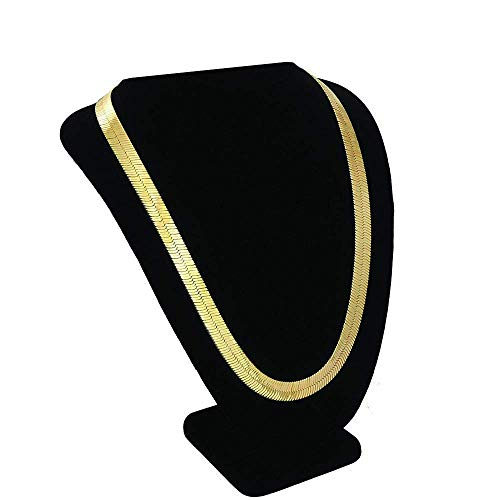 PinCute 18K Herringbone Gold Chain Necklace, 90s Fashion Hip Hop Style Flat Snake Chain for Women and Men School Rapper Costume Accessory, Sparkling Faux Gold Chain Necklace, 28
