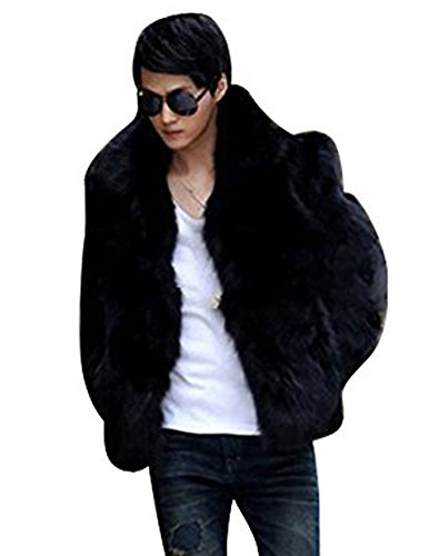 Zicac Men's Long Sleeve Faux Fur Jacket Hook & Eye Closed Luxury Coat Parka (M, Black)