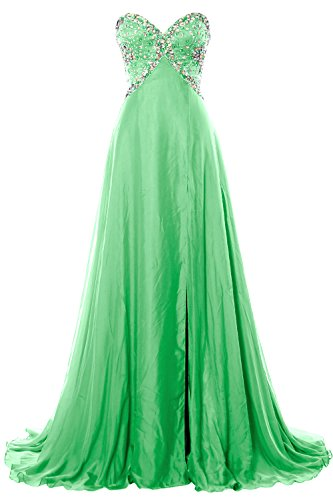 MACloth Women Strapless Prom Dress Crystals Chiffon Long Formal Evening Gown Menta
