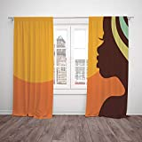 ikea teenage girl bedroom ideas Thermal Insulated Blackout Window Curtain,African Woman,Teenage Girl Pretty Face Profile Abstract Sunset Calm Evening Decorative,Orange Salmon Dark Brown,Living Room Bedroom Kitchen Cafe Window Drapes