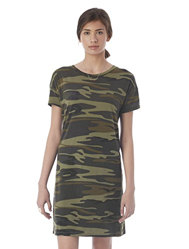 Alternative Women's Straight up Camo Print T-Shirt Dress, Woodland Camo, S