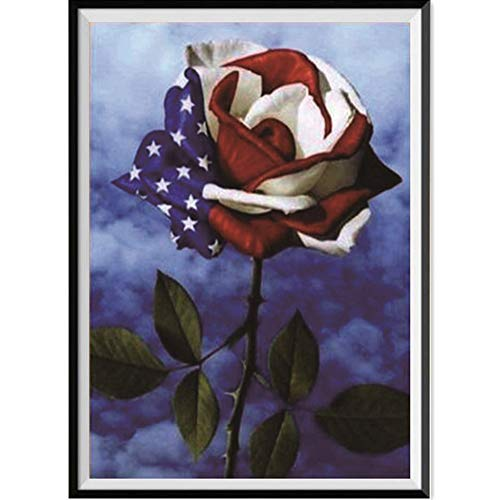 5D Diamond Painting Rhinestone Rose Stars and Stripes Chimeric Dream Embroidery Wallpaper DIY Cross Stitch Kit Crystal Full Drill Drawing for Adult Tools Home Decoration 30X40cm ()