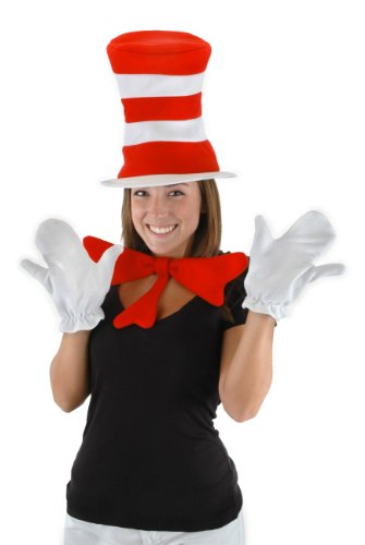 Cat In White Halloween Costume (Dr. Seuss Cat in the Hat Adult Accessory Kit by)