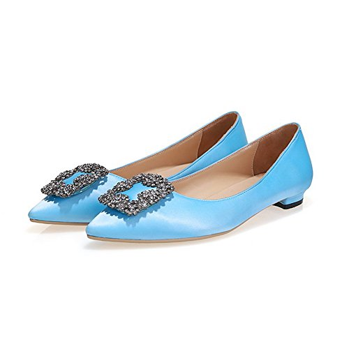 AmoonyFashion Womens Pointed Closed Toe Pull On silk Solid Spikes Stilettos Pumps Shoes Blue R6GH6W1L