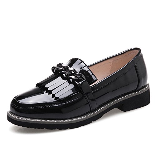 Style Shoes Shoes Leather Shoes Female British Tassel Womens Flat Heels Thin A Chunky Shoes bottom Casual pxwxH7adq