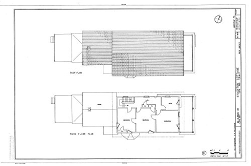 Historic Pictoric Blueprint Diagram Roof Plan, Third Floor Plan - Stockton Cottage, 26 Gurney Street, Cape May, Cape May County, NJ 44in x 30in