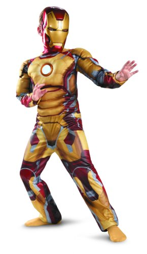 [Disguise Marvel Iron Man Movie 3: Iron Man Mark 42 Boys Muscle Light Up Costume, 7-8] (Iron Man 3 Costumes Kids)