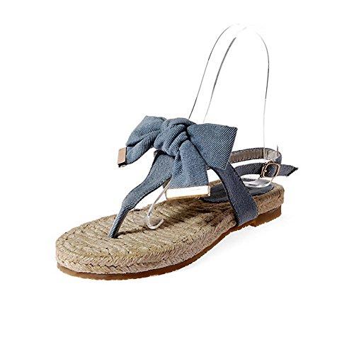 AgooLar Women's Denim Low Heels Split Toe Solid Buckle Sandals Blue QxKK4FWK