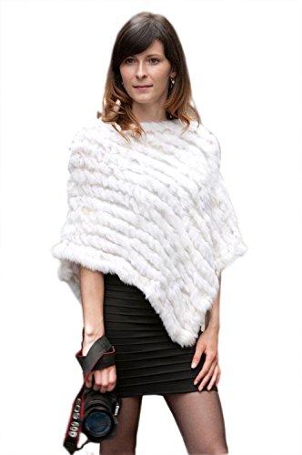 (Jancoco Max New Rabbit Fur Poncho Knitted Cape Jacket Coat Shawl Fashion White)
