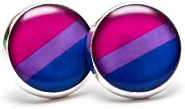 bisexual Pride Stud Pendientes Joyas Bisexual Pride pendientes orgullo bandera Orgullo de joyería azul claro y violeta rosa pendientes: Amazon.es: Juguetes y juegos
