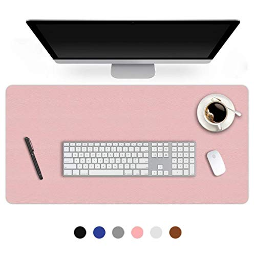 16 X 32 Inch Office Desk Pad Protector Waterproof PU Leather Desk Mat Blotters on Top of Desks Laptop Computer Gaming Keyboard Mouse Pad for Women Men Kids Girls Non-Slip Desk Writing Mat Cover Pink