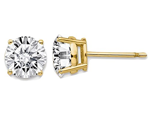 Synthetic Moissanite Solitaire Earrings 1.94 Carat (ctw) 6.5mm in 14K Yellow Gold (2.00 Ct. Diamond Look)