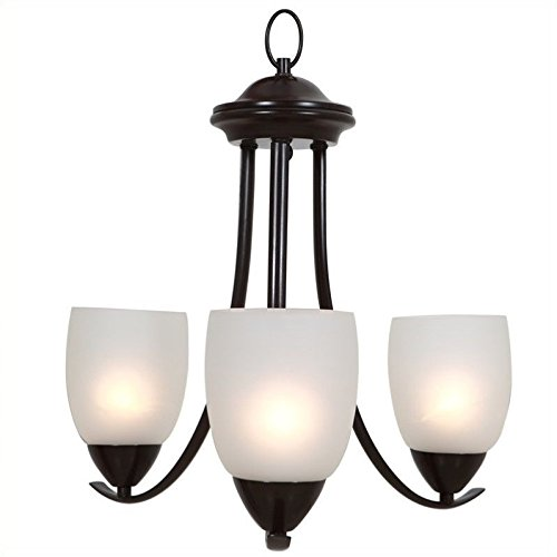 Yosemite Home Décor 1261-3U-ORB Mirror Lake Collection Three Light Chandelier, Oil Rubbed (Collection Dining Chandeliers)