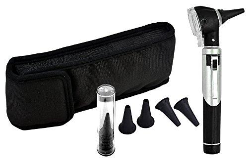(MEDUSA Fiber Optic Mini Otoscope Set - Medical Diagnostic Examination Set - Pocket Size - (BLACK))