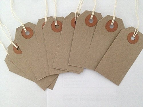 Range Wholesale Quality Buff / Brown - Natural 108 x 54mm Strung Tags Price -Tags Labels Reinforced Rings Luggage Strong String Retail Gun Ticket Tie On Gift (Pack Of 500) ()