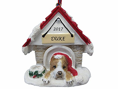 Doghouse Ornament - Pit Bull, Tan & White - Brindle Color Ornament Hand Painted and Personalized Christmas Doghouse Ornament with Magnetic Back ()