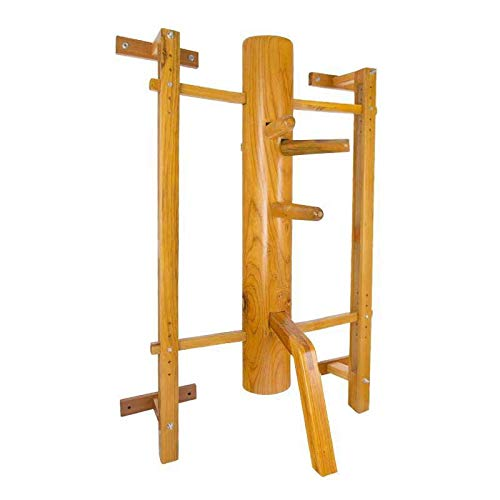 Wing Chun Wooden Dummy Mook Yan Jong - Traditional IP Man Solid Wooden Dummy with Adjustable Wall Mounted Stand M013