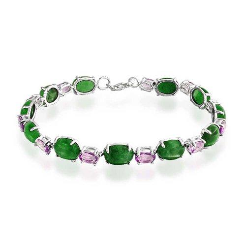 Oval Link Dyed Green Jade Lavender Amethyst Tennis Bracelet For Women 925 Sterling Silver 7.5 Inch
