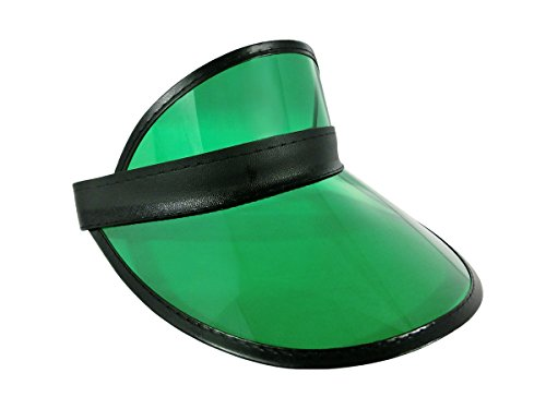 - Retro Beach Colored Plastic Clear Sun Visor Hat, Green Black, One Size