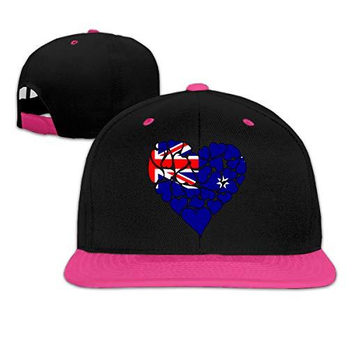 (Australia Flag Heart Love Women Men Hip-Hop Flatbrim Baseball Hats, Contrast Color Dad Hat)