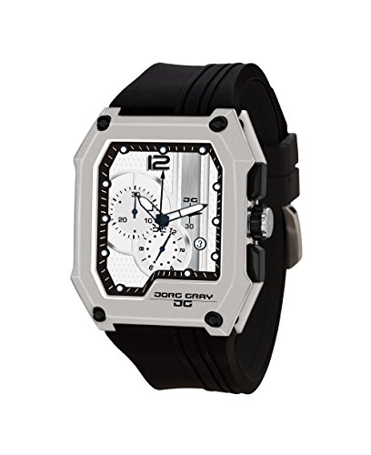 Jorg Gray JG7100-22 Men's Watch Chronograph Integrated Silicone Strap Silver Dial Rectangular Case by Jorg Gray
